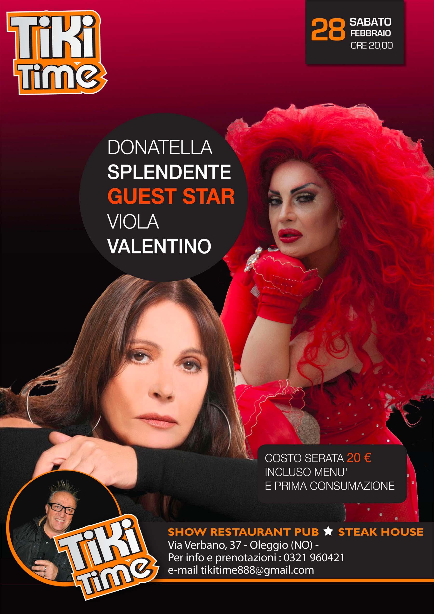Viola Valentino al Tiki Time con la drag Splendente. E per il cabaret c'è Scintilla