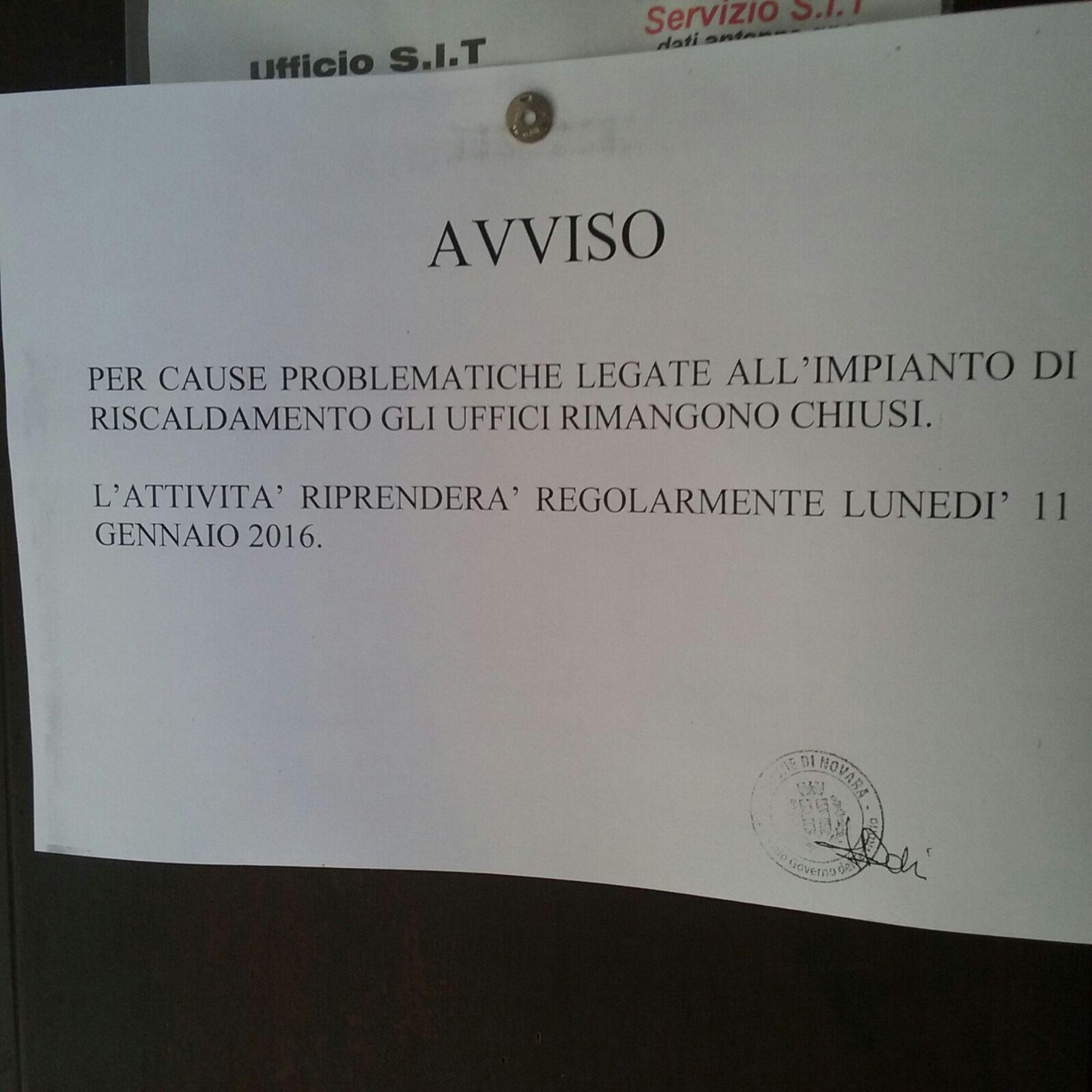Palazzo Faraggiana al freddo: dipendenti a casa e uffici chiusi, ma senza comunicazioni ufficiali