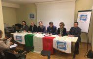 L'europarlamentare Cirio alla conferenza stampa di Forza Novara