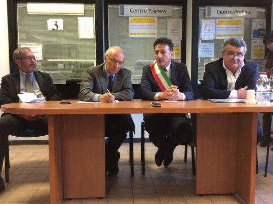 Inaugurazione dell'hospice: da sinistra Cardillo, Saitta, Gusmeroli, Giacoletto