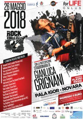 Rock ForLife 2018, Gianluca Grignani, Comune di Novara, Pala Igor,