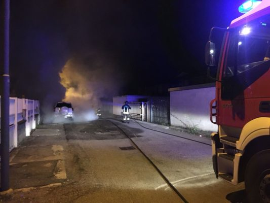 incendio auto via Cella Novara