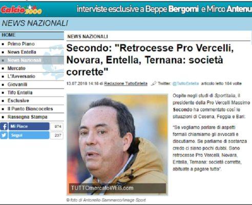 Massimo Secondo contro Novara calcio ricorso