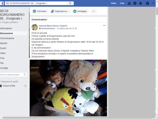 Parte da Facebook la raccolta giocattoli per i bimbi della Pediatria