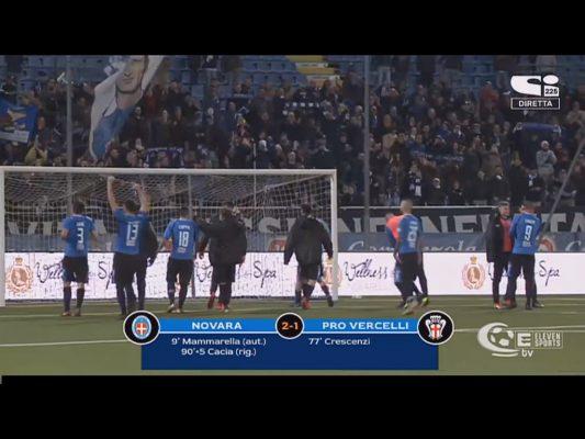 Novara Pro Vercelli 2-1 Cacia autorete Mammarella serie C Lega Pro