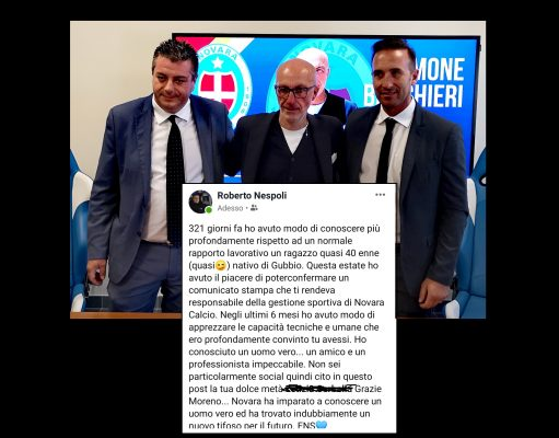 Roberto Nespoli addio Moreno Zebi esonero ds Novara calcio
