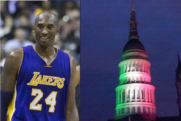 La luce di Kobe Bryant illumina la Cupola di giallo-viola. L'omaggio di Novara al campione NBA