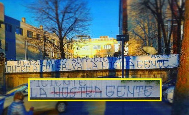 """Solidarietà scambiata per politica? Nella notte lo """"sgarbo"""" allo striscione davanti al Maggiore affisso dagli ultrà Nuares"""