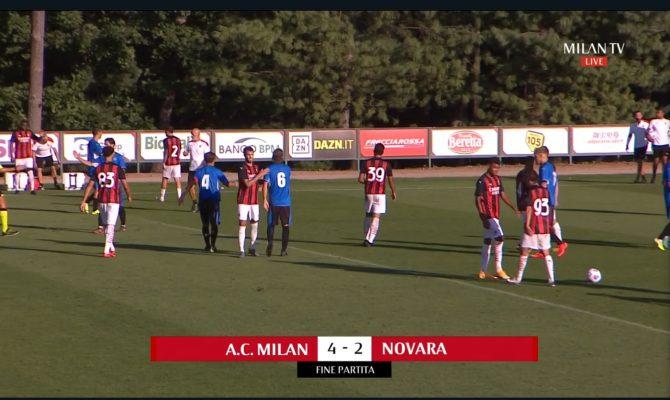 Novara avanti 2-0 con doppio Bellich, poi in due mini tempi il Milan rimonta e chiude 4-2