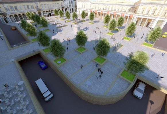 Piazza Martiri totalmente pedonalizzata. La proposta dei Lions per la Novara del futuro